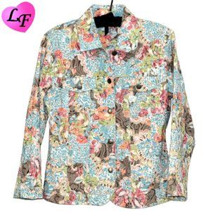 ANALOGY Jean Jacket Abstract Floral Pattern